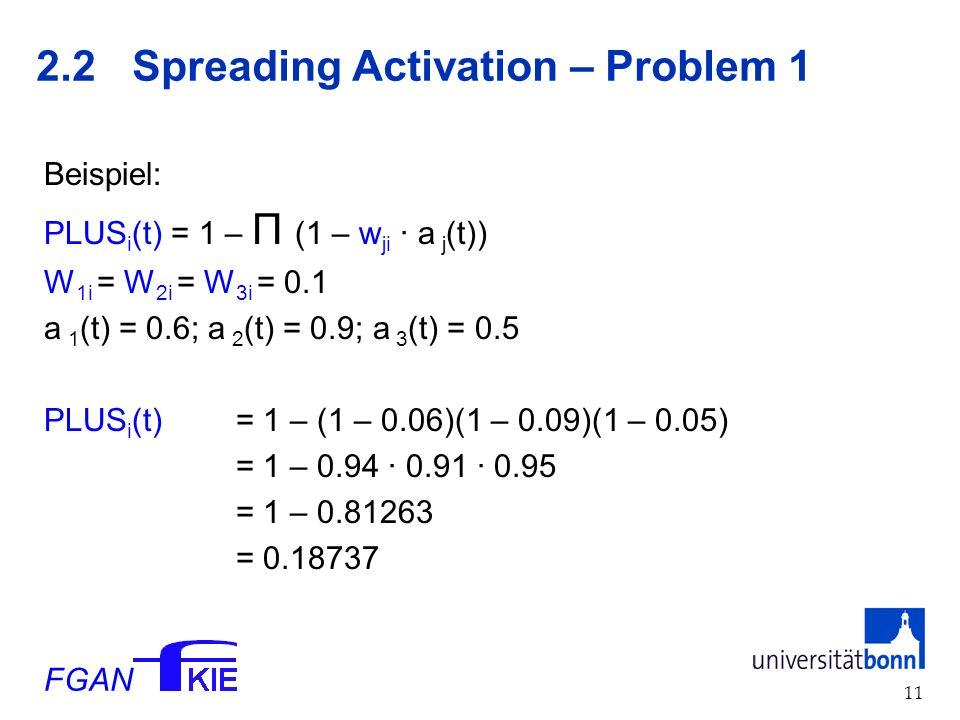 FGAN 12 2.2 Spreading Activation – Problem 2 Generell gilt: Klassische Modelle haben kein Modellierungsproblem mit Sequentialisierung, wohl aber mit Parallelität.