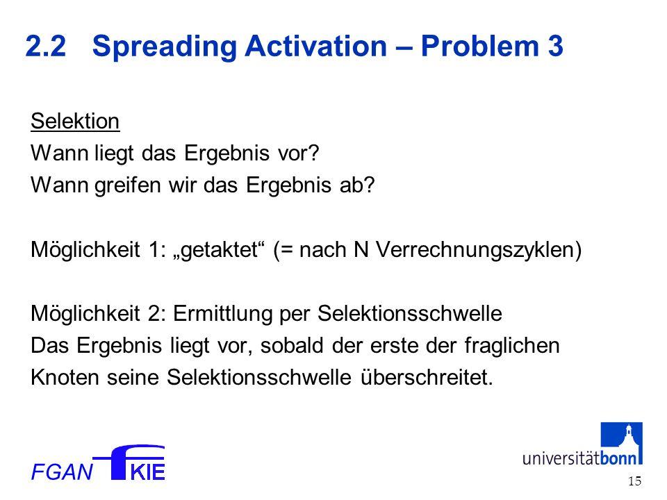 FGAN 15 2.2 Spreading Activation – Problem 3 Selektion Wann liegt das Ergebnis vor.