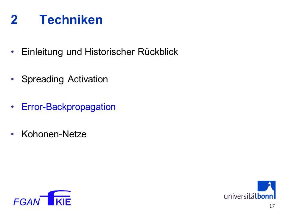 FGAN 17 2Techniken Einleitung und Historischer Rückblick Spreading Activation Error-Backpropagation Kohonen-Netze