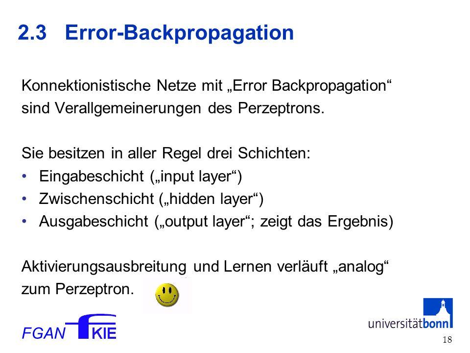 FGAN 18 2.3Error-Backpropagation Konnektionistische Netze mit Error Backpropagation sind Verallgemeinerungen des Perzeptrons.