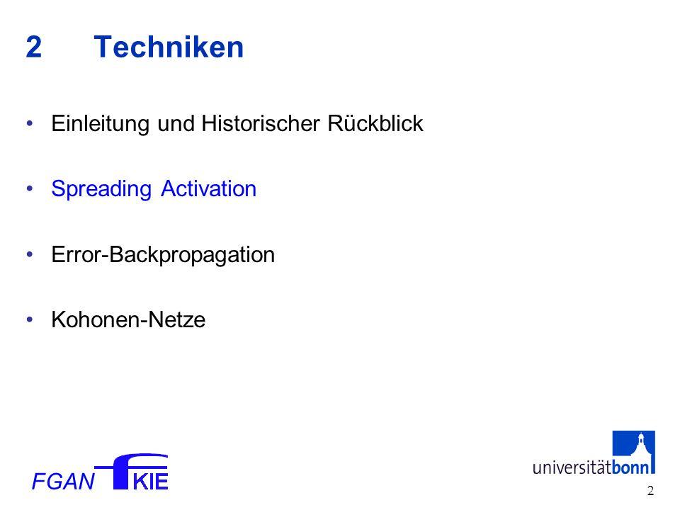 FGAN 2 2Techniken Einleitung und Historischer Rückblick Spreading Activation Error-Backpropagation Kohonen-Netze