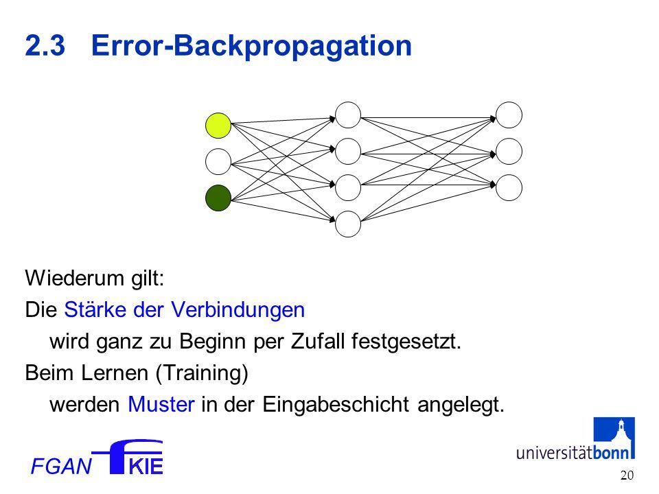 FGAN 20 2.3Error-Backpropagation Wiederum gilt: Die Stärke der Verbindungen wird ganz zu Beginn per Zufall festgesetzt.