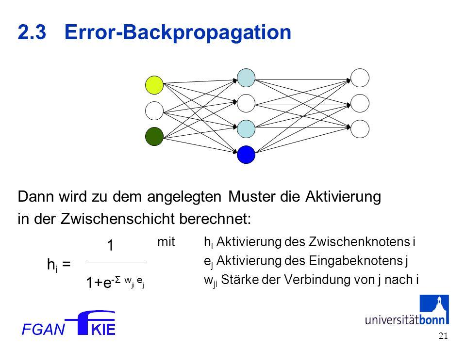 FGAN 21 2.3Error-Backpropagation Dann wird zu dem angelegten Muster die Aktivierung in der Zwischenschicht berechnet: mit h i Aktivierung des Zwischenknotens i e j Aktivierung des Eingabeknotens j w ji Stärke der Verbindung von j nach i 1 h i = 1+e -Σ w ji e j