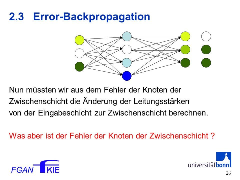 FGAN 26 2.3Error-Backpropagation Nun müssten wir aus dem Fehler der Knoten der Zwischenschicht die Änderung der Leitungsstärken von der Eingabeschicht zur Zwischenschicht berechnen.