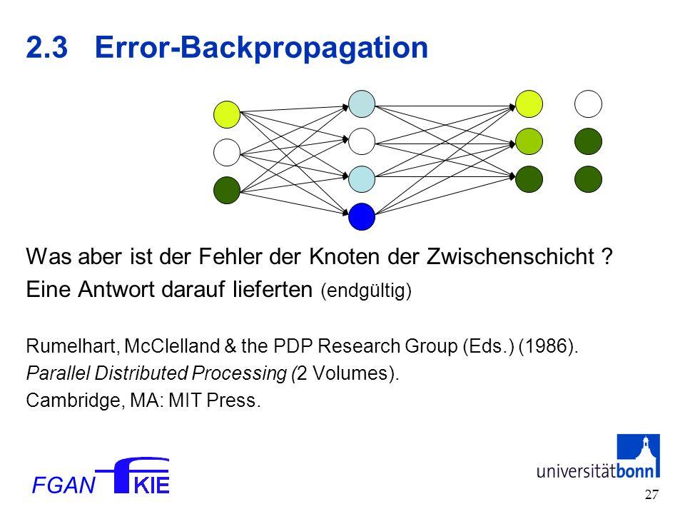 FGAN 27 2.3Error-Backpropagation Was aber ist der Fehler der Knoten der Zwischenschicht .