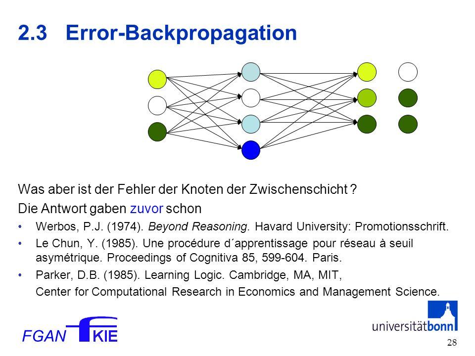 FGAN 28 2.3Error-Backpropagation Was aber ist der Fehler der Knoten der Zwischenschicht .