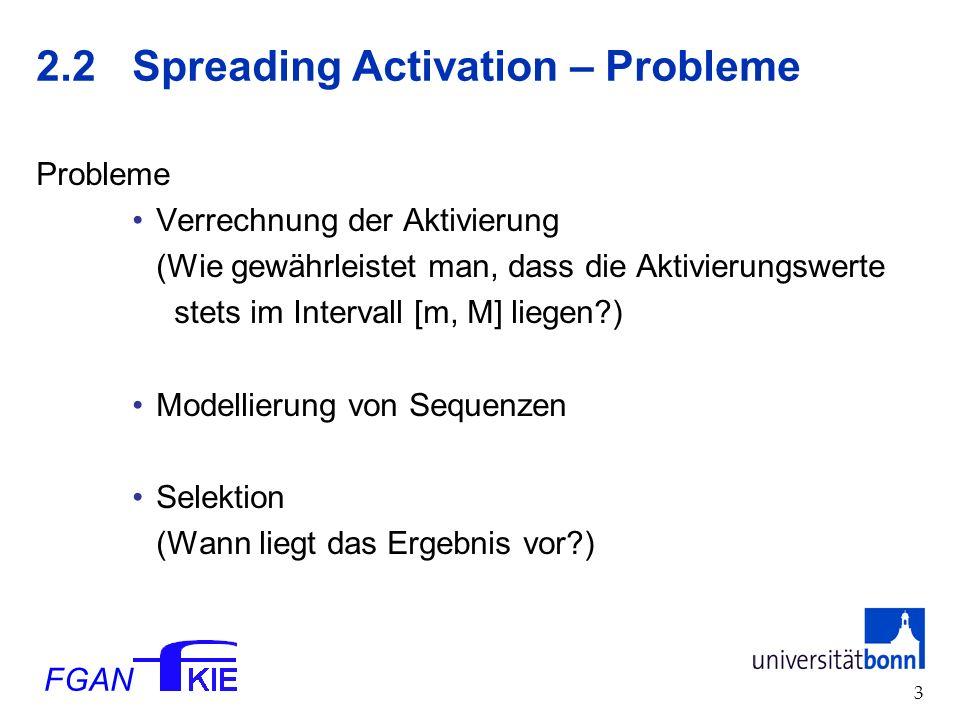 FGAN 3 2.2 Spreading Activation – Probleme Probleme Verrechnung der Aktivierung (Wie gewährleistet man, dass die Aktivierungswerte stets im Intervall [m, M] liegen ) Modellierung von Sequenzen Selektion (Wann liegt das Ergebnis vor )