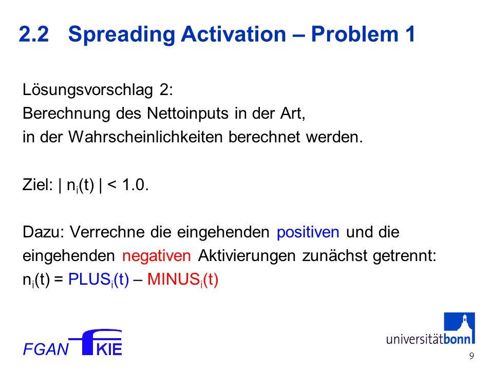 FGAN 9 2.2 Spreading Activation – Problem 1 Lösungsvorschlag 2: Berechnung des Nettoinputs in der Art, in der Wahrscheinlichkeiten berechnet werden.