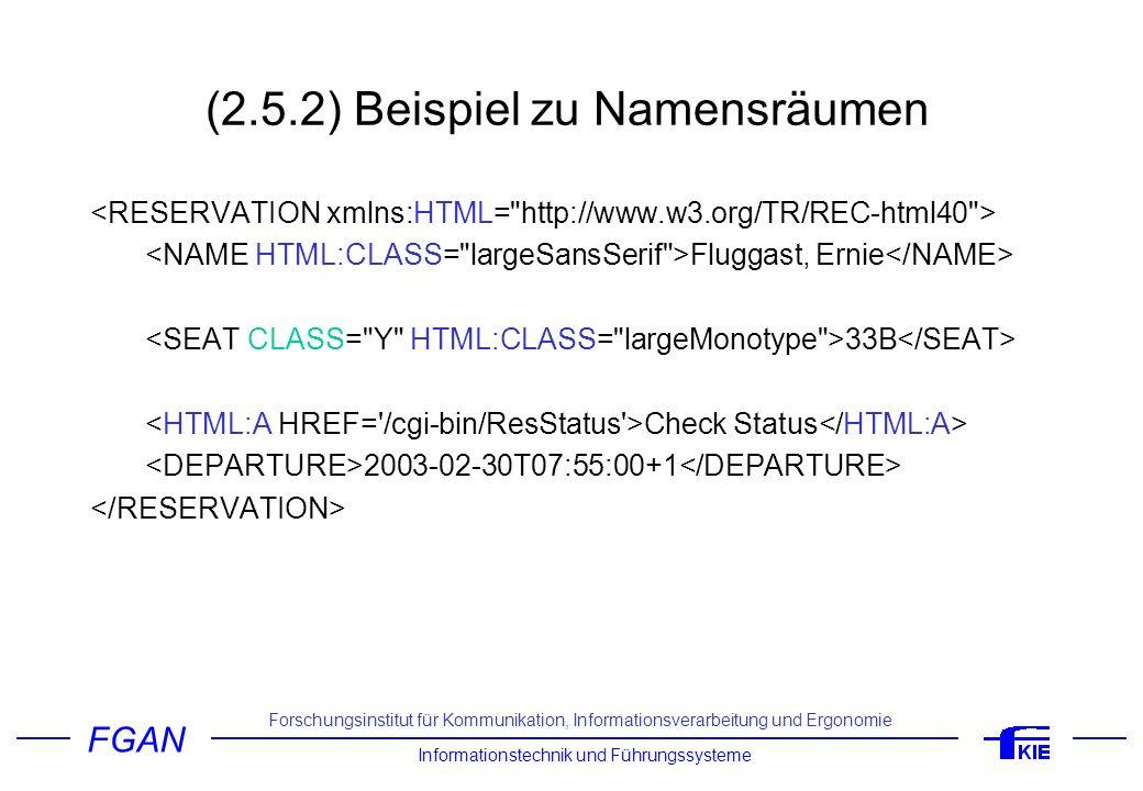 FGAN Informationstechnik und Führungssysteme Forschungsinstitut für Kommunikation, Informationsverarbeitung und Ergonomie (2.5.2) Beispiel zu Namensrä