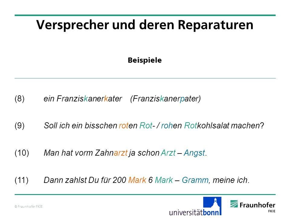 © Fraunhofer FKIE Beispiele Versprecher und deren Reparaturen (8) ein Franziskanerkater (Franziskanerpater) (9)Soll ich ein bisschen roten Rot- / rohe