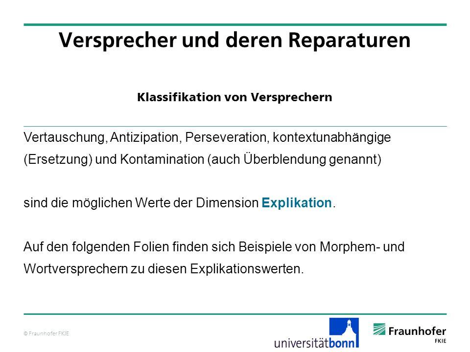 © Fraunhofer FKIE Klassifikation von Versprechern Versprecher und deren Reparaturen Vertauschung, Antizipation, Perseveration, kontextunabhängige (Ers