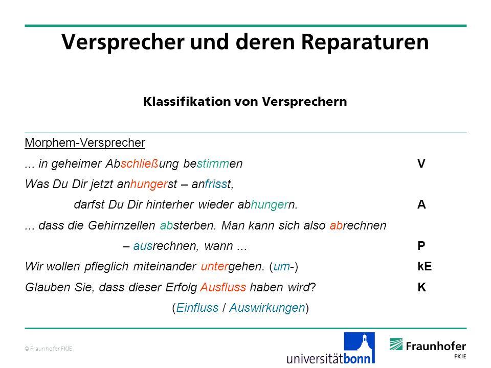 © Fraunhofer FKIE Klassifikation von Versprechern Versprecher und deren Reparaturen Morphem-Versprecher... in geheimer Abschließung bestimmen V Was Du
