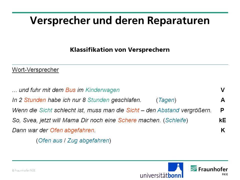 © Fraunhofer FKIE Klassifikation von Versprechern Versprecher und deren Reparaturen Wort-Versprecher... und fuhr mit dem Bus im Kinderwagen V In 2 Stu
