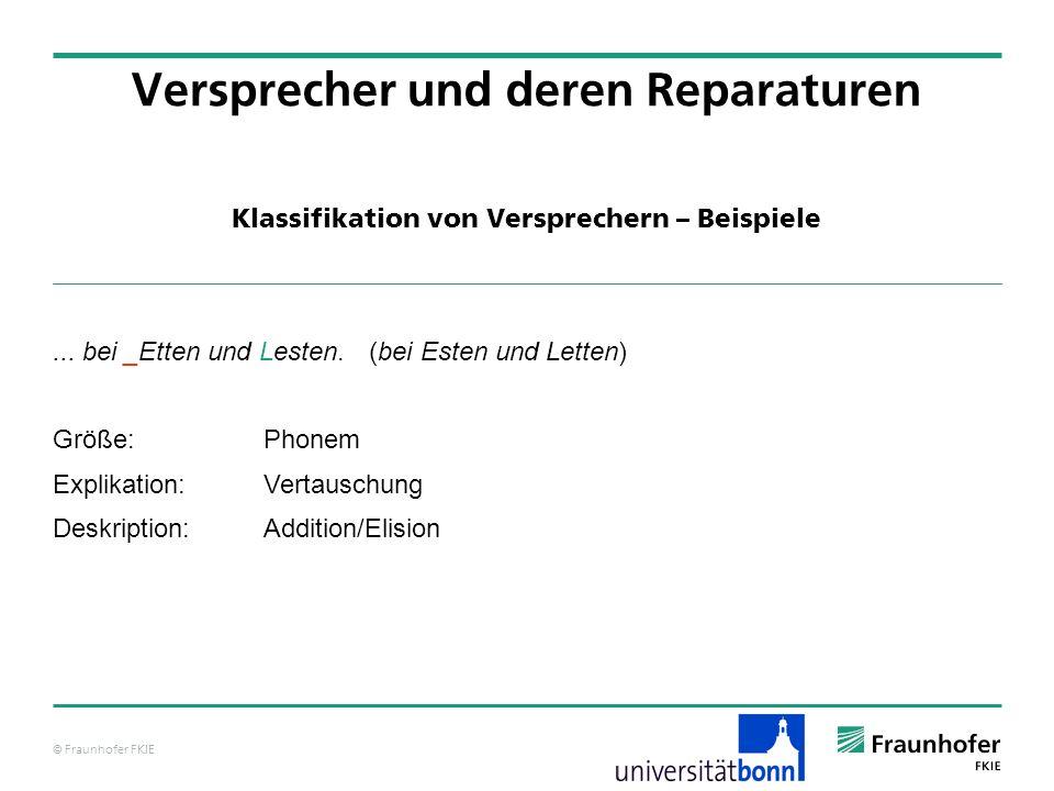 © Fraunhofer FKIE Klassifikation von Versprechern – Beispiele Versprecher und deren Reparaturen... bei _Etten und Lesten. (bei Esten und Letten) Größe