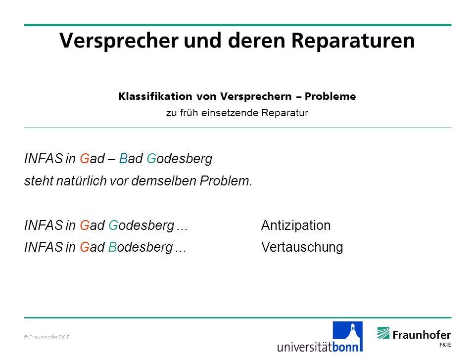 © Fraunhofer FKIE Klassifikation von Versprechern – Probleme zu früh einsetzende Reparatur Versprecher und deren Reparaturen INFAS in Gad – Bad Godesb