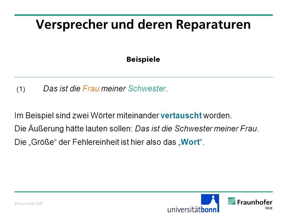 © Fraunhofer FKIE Beispiele Versprecher und deren Reparaturen (1) Das ist die Frau meiner Schwester. Im Beispiel sind zwei Wörter miteinander vertausc