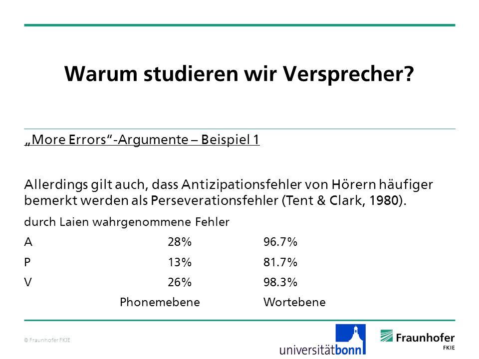 © Fraunhofer FKIE Warum studieren wir Versprecher? More Errors-Argumente – Beispiel 1 Allerdings gilt auch, dass Antizipationsfehler von Hörern häufig