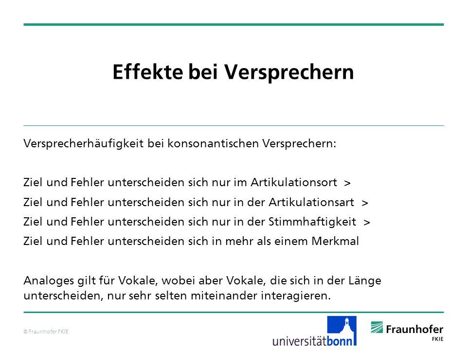 © Fraunhofer FKIE Effekte bei Versprechern Versprecherhäufigkeit bei konsonantischen Versprechern: Ziel und Fehler unterscheiden sich nur im Artikulat