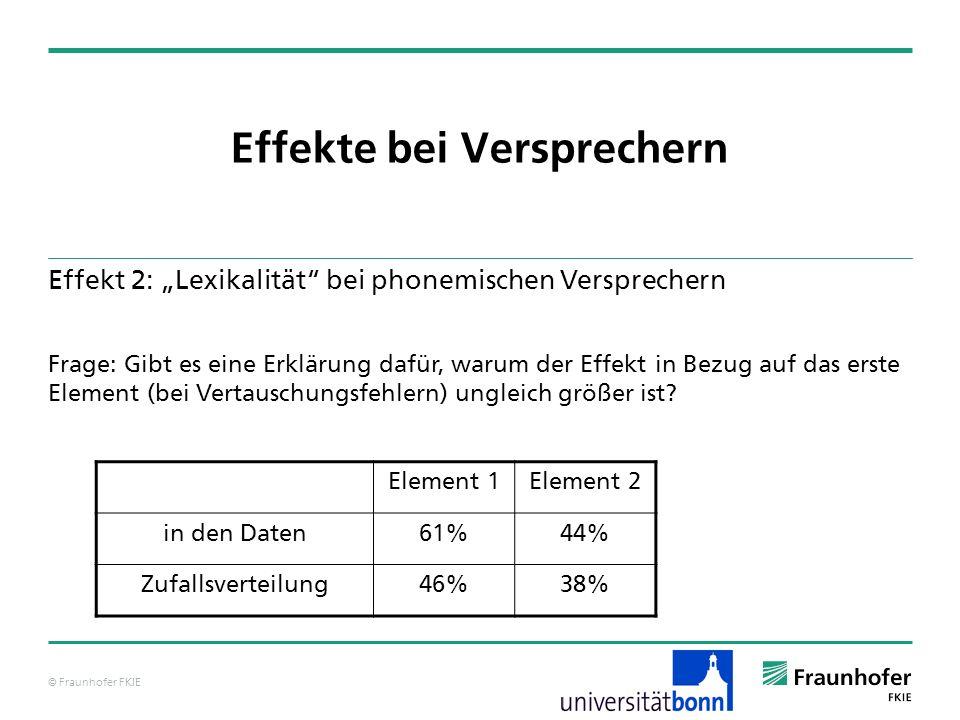 © Fraunhofer FKIE Effekte bei Versprechern Effekt 2: Lexikalität bei phonemischen Versprechern Frage: Gibt es eine Erklärung dafür, warum der Effekt i