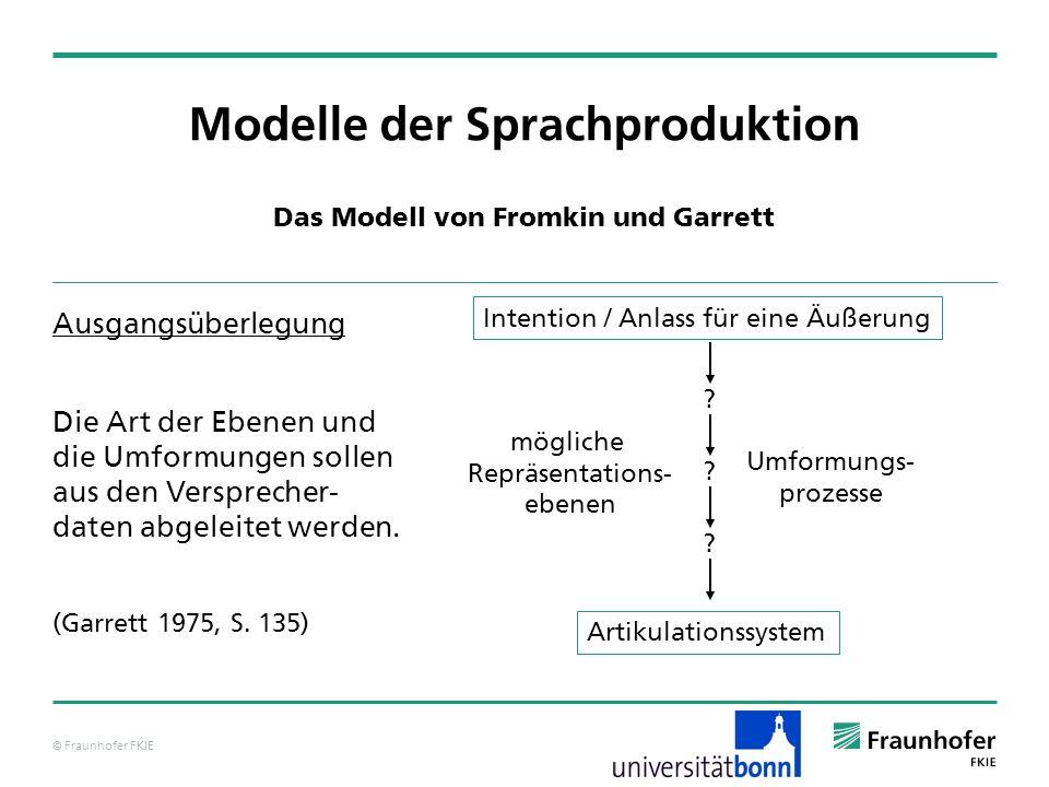 © Fraunhofer FKIE Modelle der Sprachproduktion Das Modell von Levelt – Konzeptualisator arbeitet unter bewusster Kontrolle Input: Idee / Intention I Wissensquellen prozedurales Wissen über Kommunikation: Was ist zu äußern, wenn die Intention I vorliegt.