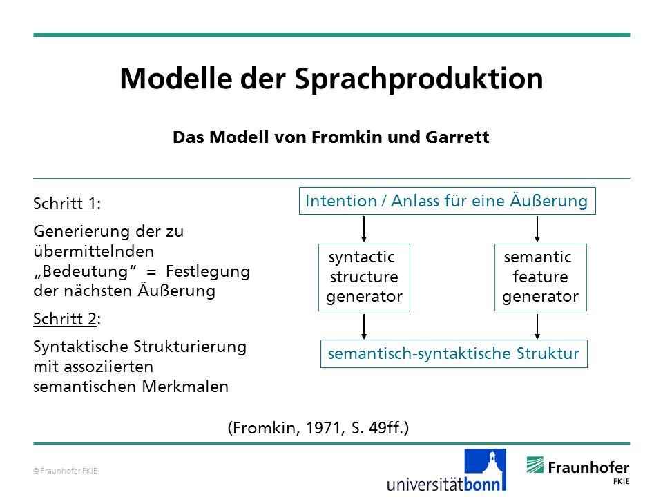 © Fraunhofer FKIE cat: NP pred: head: cat: N pred: tennisball agr: kas: ___ num: ___ gen: mask pers: 3 spec: ___ mod: ___ Modelle der Sprachproduktion Das Modell von Levelt – grammatische Enkodierung Über Inspektionsprozeduren werden Werte für vorliegende, aber unter- spezifizierte Merkmal-Wert-Paare ermittelt, welche dann mittels funktionaler Prozeduren eingetragen werden.