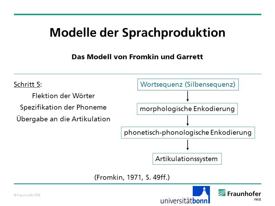 © Fraunhofer FKIE Modelle der Sprachproduktion Das Modell von Levelt – grammatische Enkodierung Phrasenstrukturen, für deren Anordnungsprozedur erfolgreich durchgeführt wurden, werden an eine übergeordnete kategoriale Prozedur übergeben, um dort integriert zu werden.