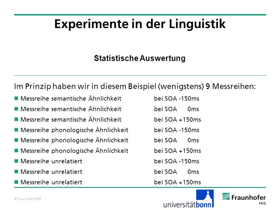 © Fraunhofer FKIE Statistische Auswertung Im Prinzip haben wir in diesem Beispiel (wenigstens) 9 Messreihen: Messreihe semantische Ähnlichkeit bei SOA