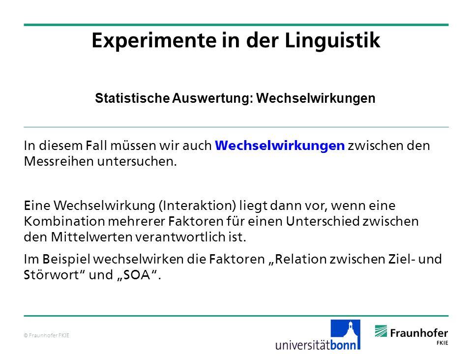 © Fraunhofer FKIE Statistische Auswertung: Wechselwirkungen In diesem Fall müssen wir auch Wechselwirkungen zwischen den Messreihen untersuchen. Eine
