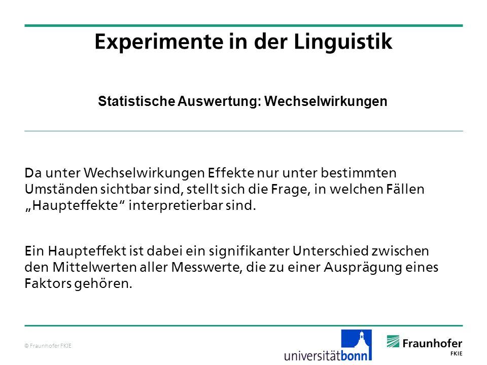 © Fraunhofer FKIE Statistische Auswertung: Wechselwirkungen Da unter Wechselwirkungen Effekte nur unter bestimmten Umständen sichtbar sind, stellt sic