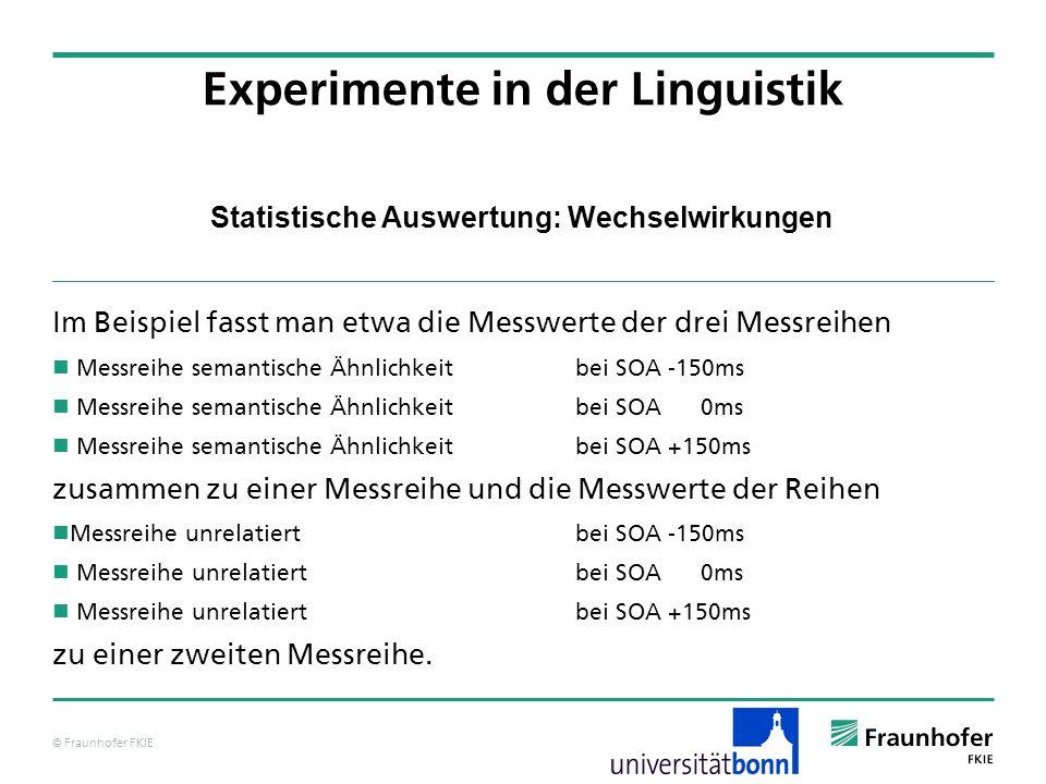 © Fraunhofer FKIE Statistische Auswertung: Wechselwirkungen Im Beispiel fasst man etwa die Messwerte der drei Messreihen Messreihe semantische Ähnlich
