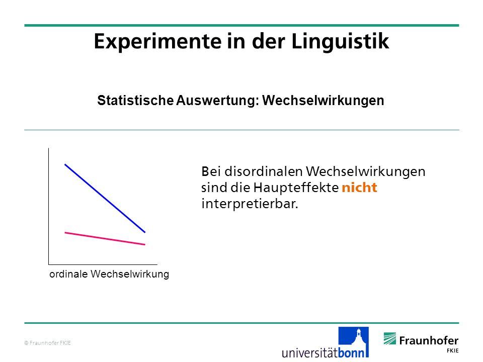 © Fraunhofer FKIE Statistische Auswertung: Wechselwirkungen Bei disordinalen Wechselwirkungen sind die Haupteffekte nicht interpretierbar. Experimente