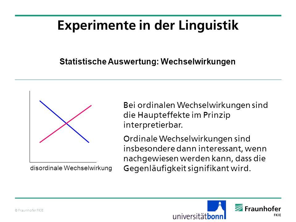 © Fraunhofer FKIE Statistische Auswertung: Wechselwirkungen Bei ordinalen Wechselwirkungen sind die Haupteffekte im Prinzip interpretierbar. Ordinale