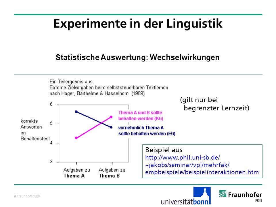 © Fraunhofer FKIE Statistische Auswertung: Wechselwirkungen Experimente in der Linguistik Beispiel aus http://www.phil.uni-sb.de/ ~jakobs/seminar/vpl/