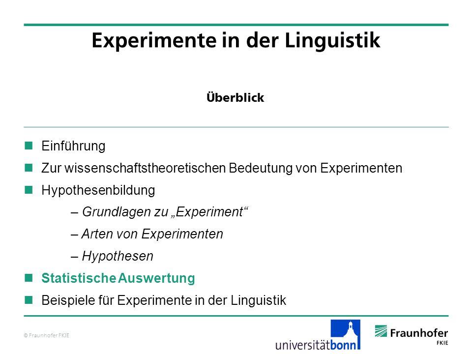 © Fraunhofer FKIE Überblick Einführung Zur wissenschaftstheoretischen Bedeutung von Experimenten Hypothesenbildung – Grundlagen zu Experiment – Arten