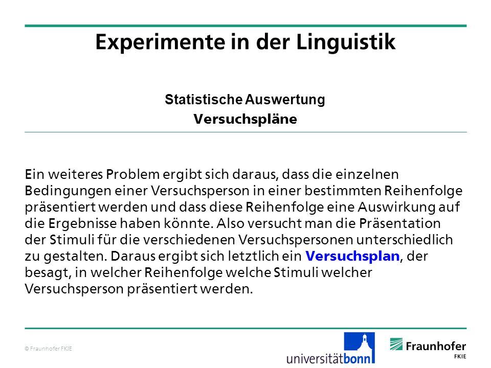 © Fraunhofer FKIE Statistische Auswertung Versuchspläne Ein weiteres Problem ergibt sich daraus, dass die einzelnen Bedingungen einer Versuchsperson i