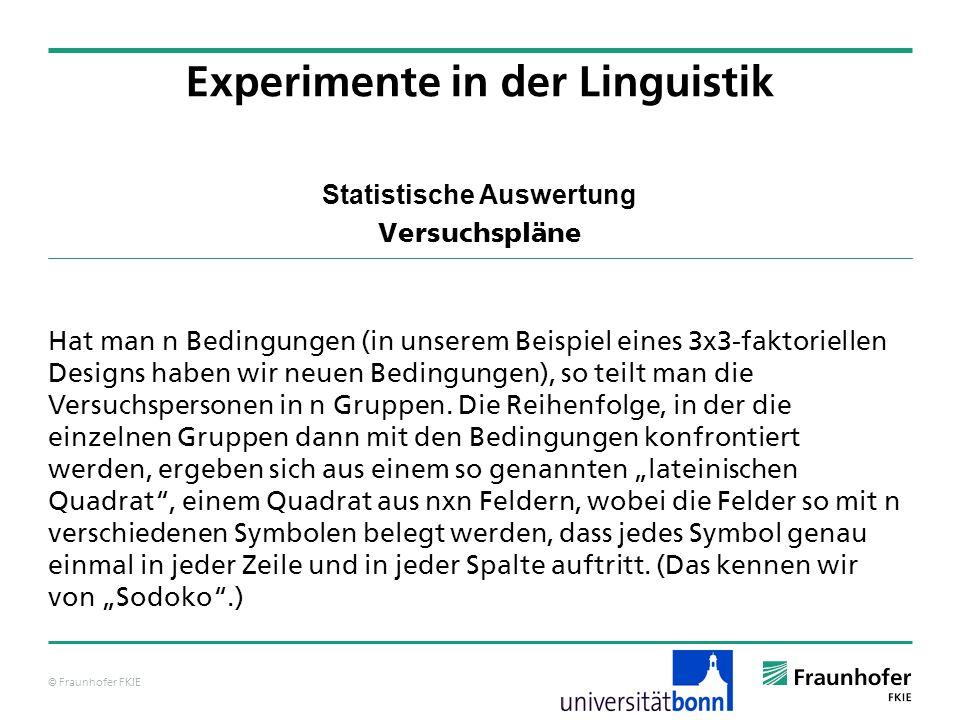 © Fraunhofer FKIE Statistische Auswertung Versuchspläne Hat man n Bedingungen (in unserem Beispiel eines 3x3-faktoriellen Designs haben wir neuen Bedi