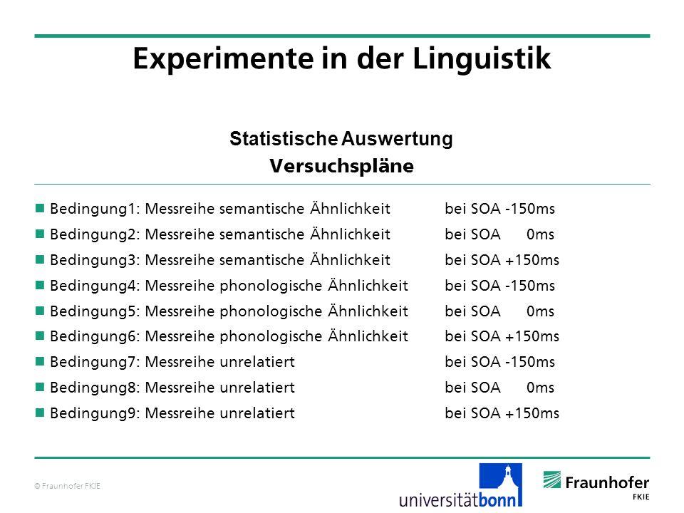 © Fraunhofer FKIE Statistische Auswertung Versuchspläne Bedingung1: Messreihe semantische Ähnlichkeit bei SOA -150ms Bedingung2: Messreihe semantische