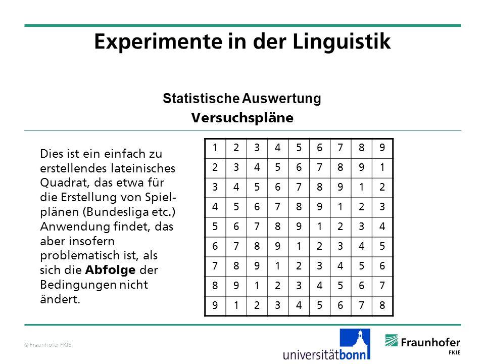 © Fraunhofer FKIE Statistische Auswertung Versuchspläne Experimente in der Linguistik 123456789 234567891 345678912 456789123 567891234 678912345 7891