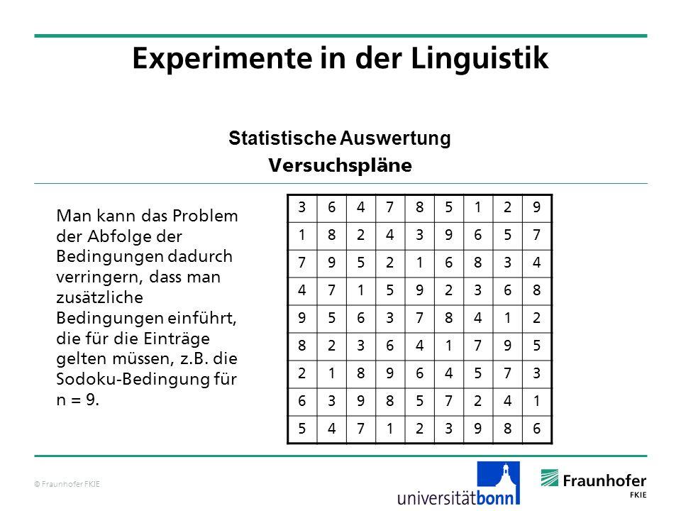 © Fraunhofer FKIE Statistische Auswertung Versuchspläne Experimente in der Linguistik 364785129 182439657 795216834 471592368 956378412 823641795 2189