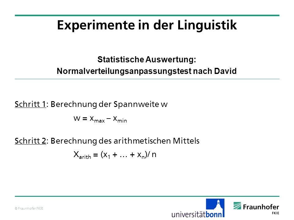 © Fraunhofer FKIE Statistische Auswertung: Normalverteilungsanpassungstest nach David Schritt 1: Berechnung der Spannweite w w = x max – x min Schritt