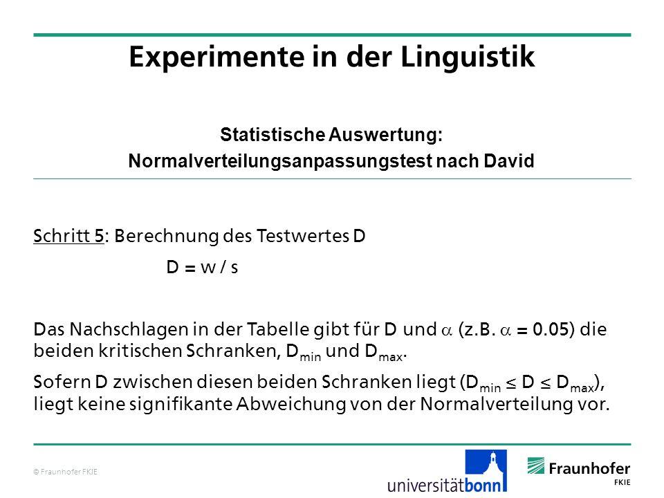 © Fraunhofer FKIE Statistische Auswertung: Normalverteilungsanpassungstest nach David Schritt 5: Berechnung des Testwertes D D = w / s Das Nachschlage