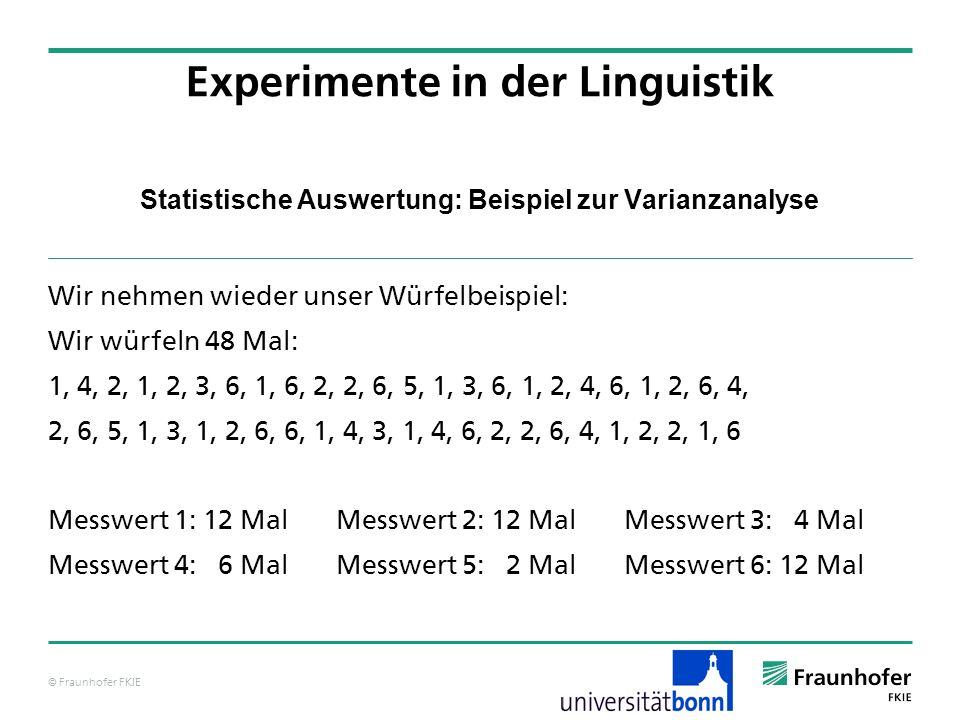 © Fraunhofer FKIE Statistische Auswertung: Beispiel zur Varianzanalyse Wir nehmen wieder unser Würfelbeispiel: Wir würfeln 48 Mal: 1, 4, 2, 1, 2, 3, 6
