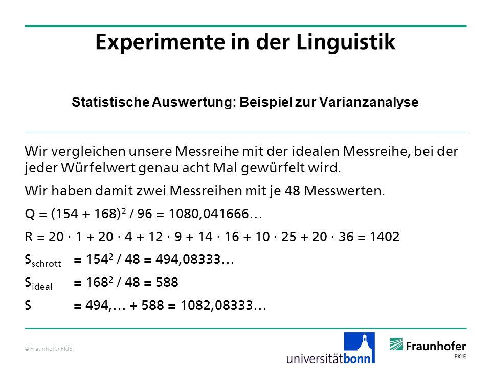 © Fraunhofer FKIE Statistische Auswertung: Beispiel zur Varianzanalyse Wir vergleichen unsere Messreihe mit der idealen Messreihe, bei der jeder Würfe