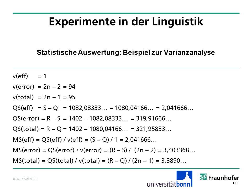 © Fraunhofer FKIE Statistische Auswertung: Beispiel zur Varianzanalyse v(eff) = 1 v(error) = 2n – 2 = 94 v(total)= 2n – 1 = 95 QS(eff) = S – Q = 1082,