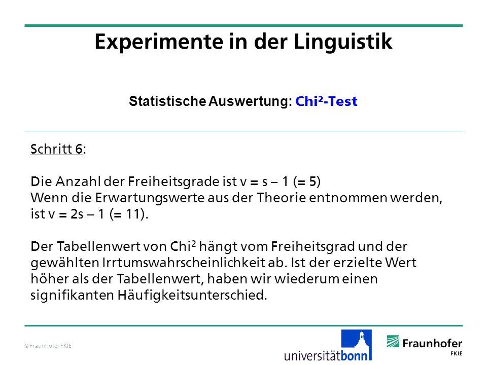 © Fraunhofer FKIE Statistische Auswertung: Chi²-Test Experimente in der Linguistik Schritt 6: Die Anzahl der Freiheitsgrade ist v = s – 1 (= 5) Wenn d