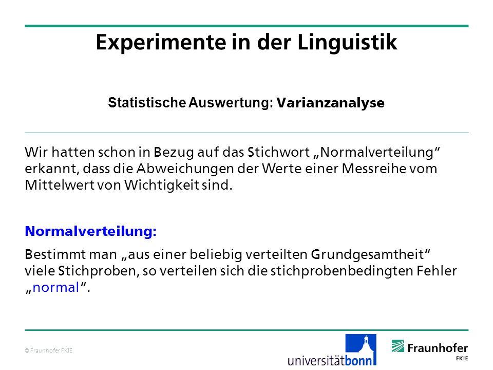 © Fraunhofer FKIE Statistische Auswertung: Varianzanalyse Wir hatten schon in Bezug auf das Stichwort Normalverteilung erkannt, dass die Abweichungen