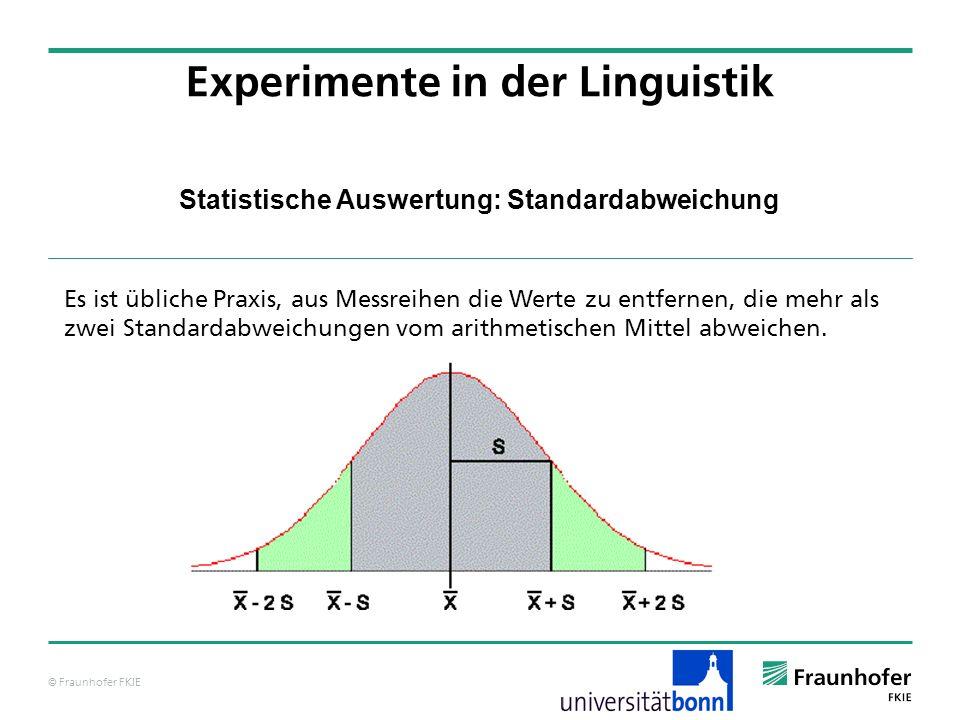 © Fraunhofer FKIE Statistische Auswertung: Standardabweichung Experimente in der Linguistik Es ist übliche Praxis, aus Messreihen die Werte zu entfern