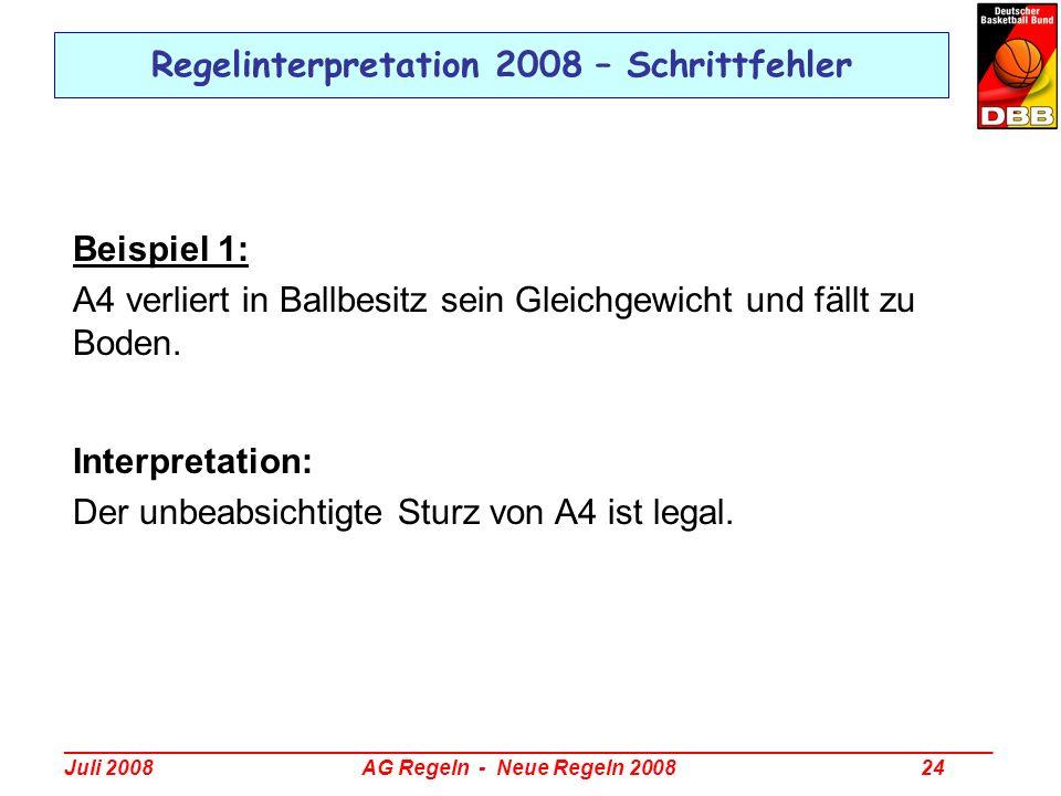 _________________________________________________________________________________ Juli 2008 AG Regeln - Neue Regeln 2008 24 Regelinterpretation 2008 –
