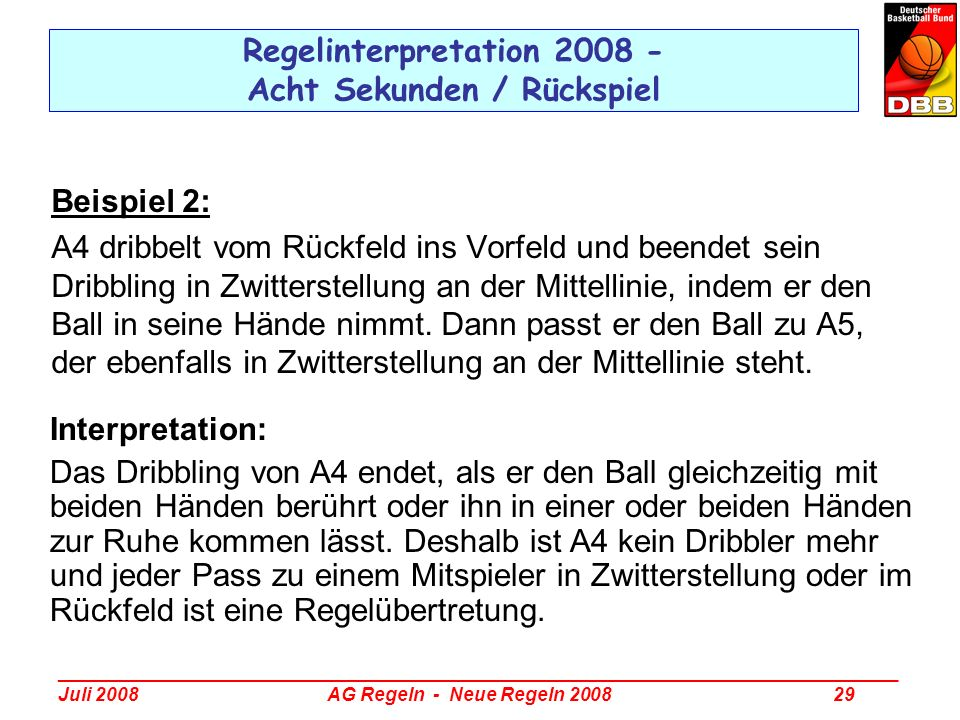 _________________________________________________________________________________ Juli 2008 AG Regeln - Neue Regeln 2008 29 Regelinterpretation 2008 -