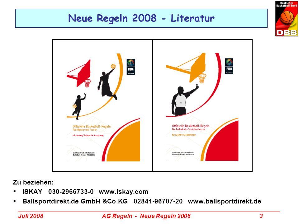 _________________________________________________________________________________ Juli 2008 AG Regeln - Neue Regeln 2008 4 Neue Regeln 2008 - Themenübersicht Zusammenfassung (DBB-Rulesletter 2/2008) Regeltexte (Offizielle FIBA-Regeln 2008) Interpretationen (FIBA-Interpretation 2008 DBB-Rulesletter 3/2008) Fallbeispiele (DBB-Fragenkatalog 2008)
